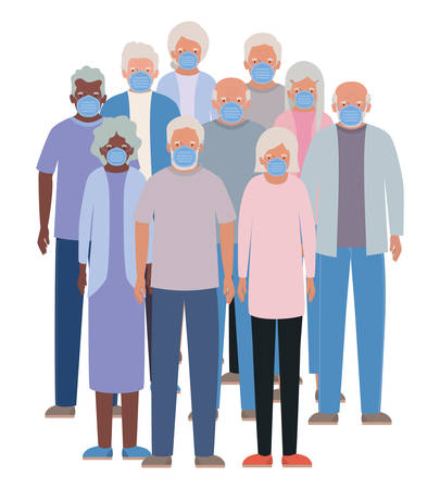 Elder women and men with masks against Covid 19 design of Medical care hygiene health emergency and patient theme Vector illustration