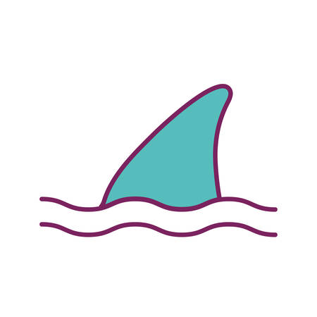 shark fin line and fill style icon design Sea life ecosystem fauna ocean underwater water nature marine tropical theme Vector illustration