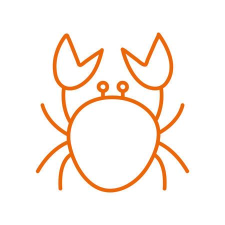 crab line style icon design Sea life ecosystem fauna ocean underwater water nature marine tropical theme Vector illustration