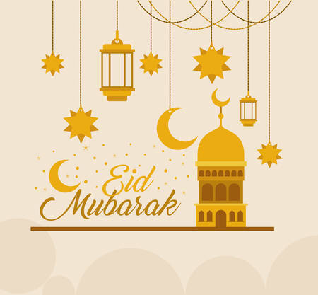 Eid mubarak gold temple with moon hanger lanterns and stars design, Islamic religion and culture theme Vector illustration