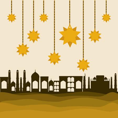 Eid mubarak gold hanger stars and city buildings design, Islamic religion and culture theme Vector illustration