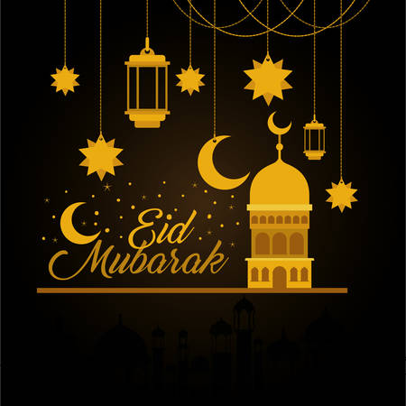 Eid mubarak gold mosque with moon hanger lanterns and stars design, Islamic religion and culture theme Vector illustration