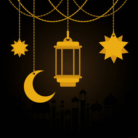 Eid mubarak gold hanger lantern moon and stars design, Islamic religion and culture theme Vector illustration