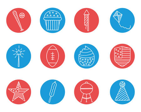 block style icon set design, Independence day united states and national theme Vector illustration