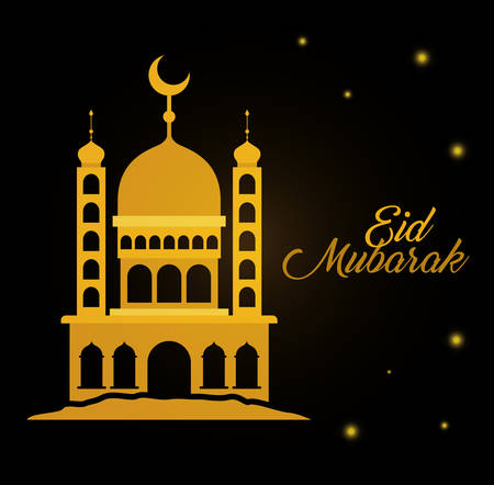 Eid mubarak gold temple with moon and stars design, Islamic religion and culture theme Vector illustration