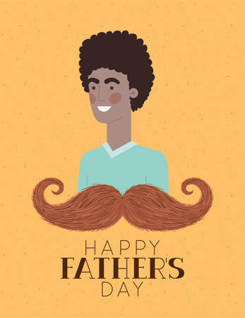 Happy fathers day text man cartoon and mustache design, Celebration and love theme Vector illustration