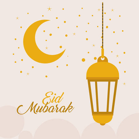 Eid mubarak gold lantern moon and stars design, Islamic religion and culture theme Vector illustration