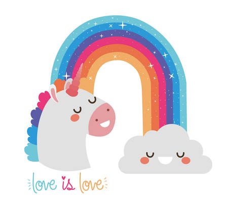 love is love with rainbow   cloud and unicorn design,  sexual orientation and identity theme Vector illustration