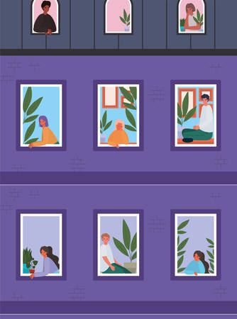 People looking out the windows from purple building design, stay at home theme vector illustration