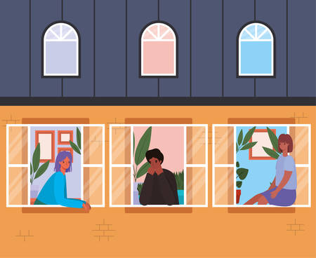 People looking out the windows from orange house design, stay at home theme vector illustration Illusztráció