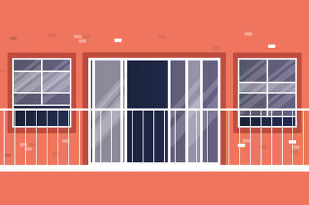 Windows and balcony outside red house design, home and architecture theme vector illustration