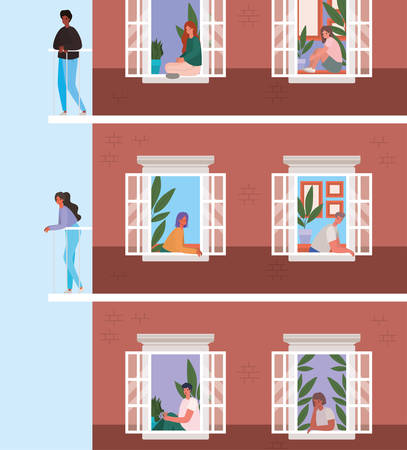 People looking out the windows with balconies from brown building design, stay at home theme vector illustration