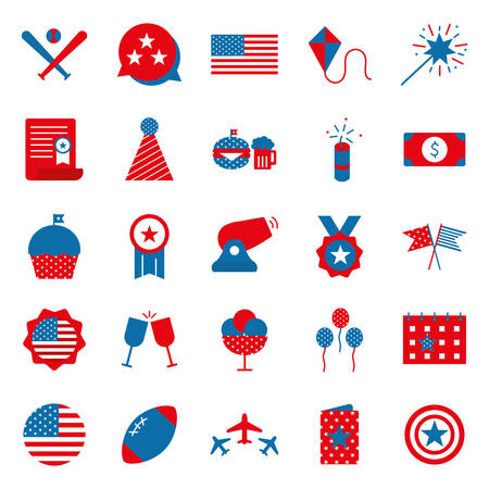 Flat style icon set design, Independence day united states america nation us country and national theme Vector illustration