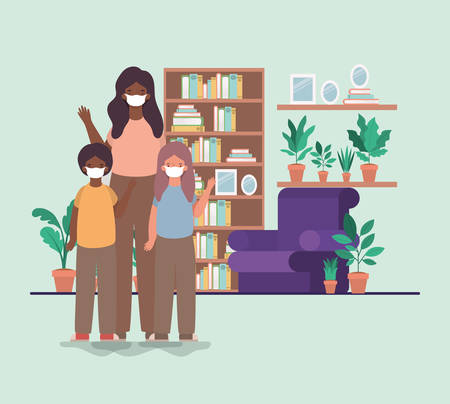 Family with masks at home design of Covid 19 virus theme Vector illustration