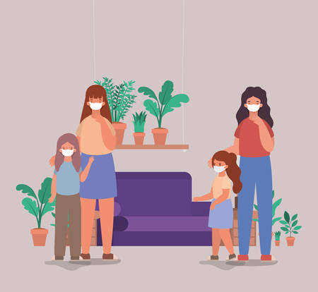 Mothers and daughters with masks at home design of Covid 19 virus theme Vector illustration