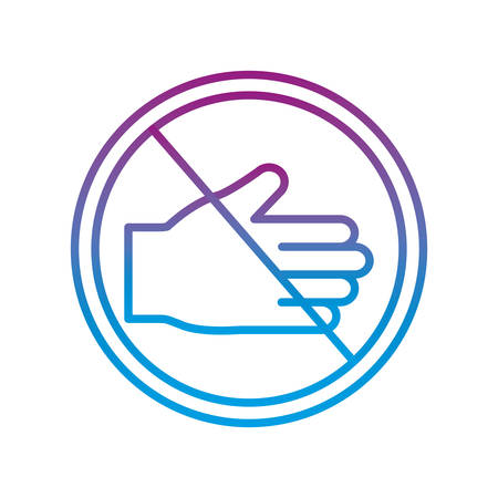Forbidden giving hand gradient line style icon design, Hygiene wash health clean healthy and bacteria theme Vector illustration