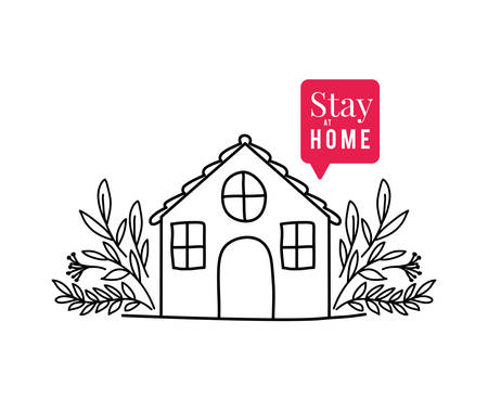 Stay at home text with house bubble and leaves design of Covid 19 virus theme Vector illustration
