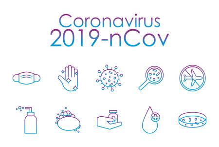 Covid 19 virus gradient line style icon set design of 2019 ncov cov coronavirus and corona theme Vector illustration