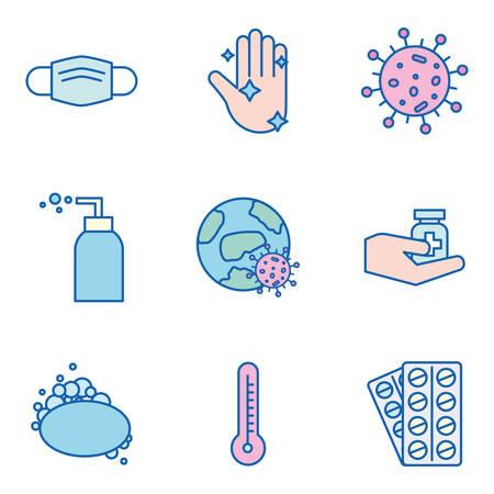 Covid 19 virus line and fill style icon set design of 2019 ncov cov coronavirus and corona theme Vector illustration Vectores