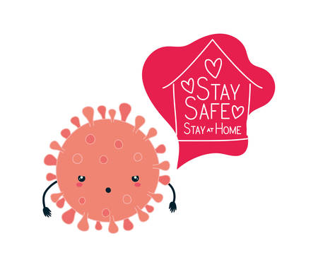 Covid 19 virus cartoon house hearts and stay safe and at home text design of theme Vector illustration