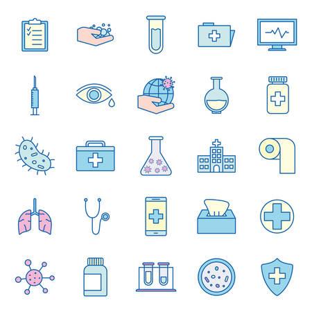 Covid 19 virus line and fill style icon set design of 2019 ncov cov coronavirus and corona theme Vector illustration Иллюстрация