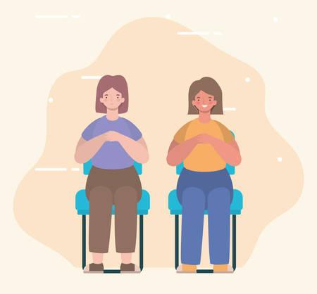 happy women cartoons sitting on seats design, Girl female person people human and social media theme Vector illustration Ilustração