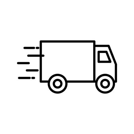 Truck line style icon design, Delivery logistics transportation shipping service warehouse industry and global theme Vector illustration Illusztráció
