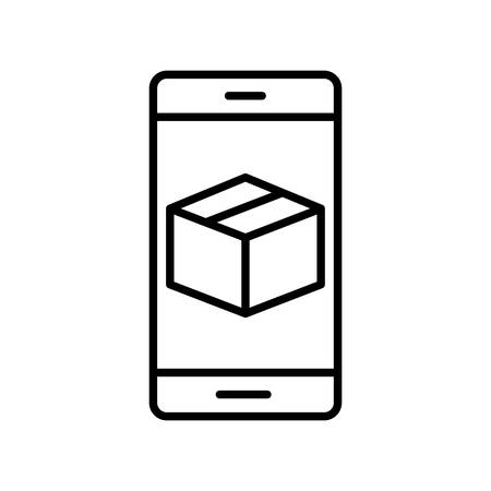 Box inside smartphone line style icon design, Delivery logistics transportation shipping service warehouse industry and global theme Vector illustration