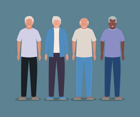 Grandfathers avatars design, Elder old person grandparents family senior and people theme Vector illustration