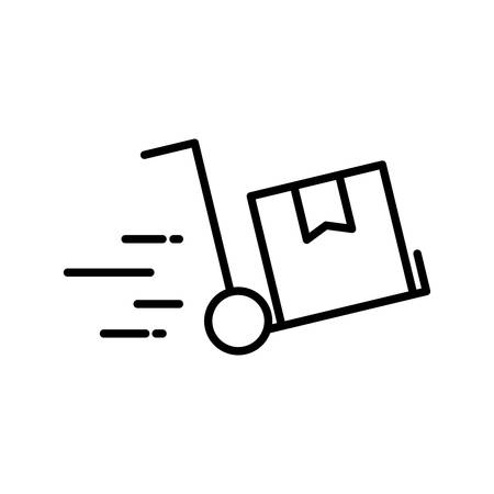 Box over cart line style icon design, Delivery logistics transportation shipping service warehouse industry and global theme Vector illustration