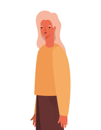 Avatar woman cartoon with blond hair design, Girl female person people human and social media theme Vector illustration Ilustração