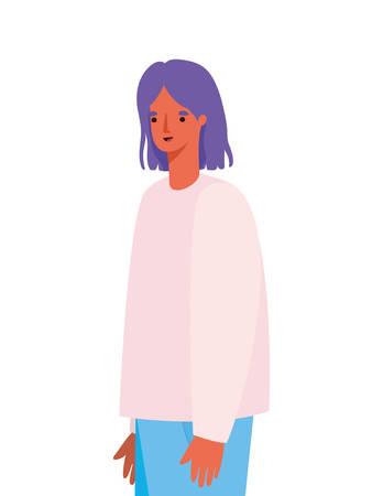 Avatar woman cartoon with purple hair design, Girl female person people human and social media theme Vector illustration Ilustração