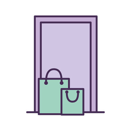 shopping bags in front of door line and fill style icon design, Delivery logistics transportation and shipping theme Vector illustration