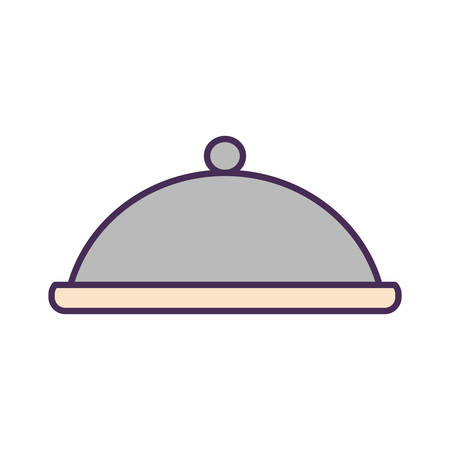 platter line and fill style icon design, food eat restaurant and menu theme Vector illustration