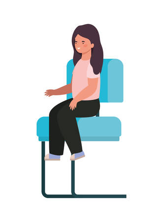 Girl cartoon sitting on seat design, Kid childhood little people lifestyle casual person cheerful and cute theme Vector illustration Illustration