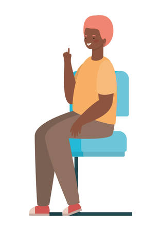 happy man cartoon sitting on seat design, Boy male person people human and social media theme Vector illustration Illusztráció