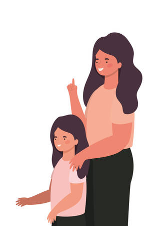 Mother with daughter design, Family relationship generation lifestyle person character friendship and portrait theme Vector illustration