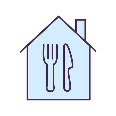 cutlery inside house line and fill style icon design, Food delivery logistics transportation and shipping theme Vector illustration
