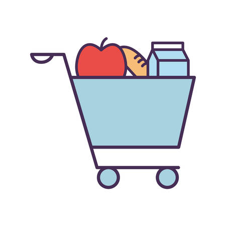 milk box apple and bread inside cart line and fill style icon design, food eat restaurant and menu theme Vector illustration