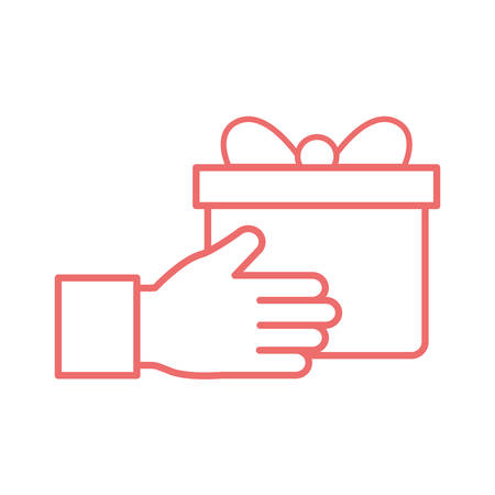 Hand with gift line style icon design, happy birthday celebration decoration party festive and surprise theme Vector illustration