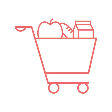 milk box apple and bread inside cart line style icon design, food eat restaurant and menu theme Vector illustration Ilustracja