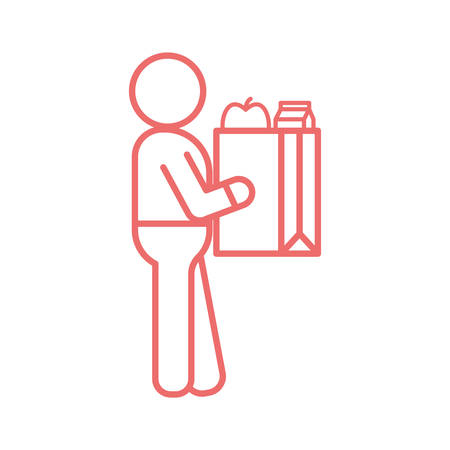 Avatar with shopping bag line style icon design, Food delivery logistics transportation and shipping theme Vector illustration 版權商用圖片 - 147589128