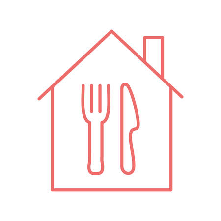cutlery inside house line style icon design, Food delivery logistics transportation and shipping theme Vector illustration Ilustrace