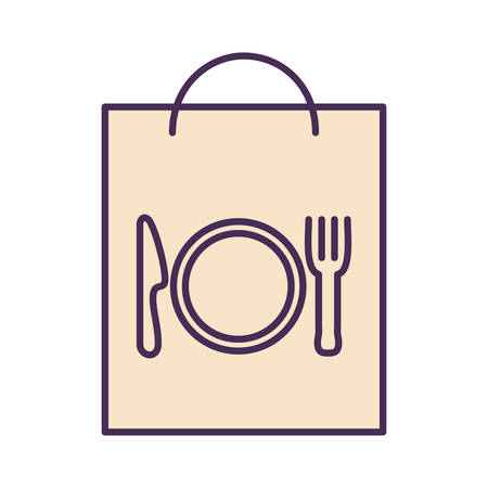 cutlery inside bag line and fill style icon design, Food delivery logistics transportation and shipping theme Vector illustration