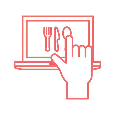 laptop and cutlery line style icon design, Food delivery logistics transportation and shipping theme Vector illustration