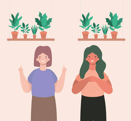 happy women cartoons with plants inside pots design, Girl female person people human and social media theme Vector illustration Ilustracja