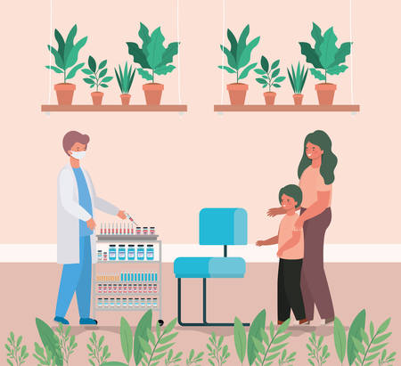male doctor vaccinating boy and mother design of Medical care health and emergency theme Vector illustration Ilustracja