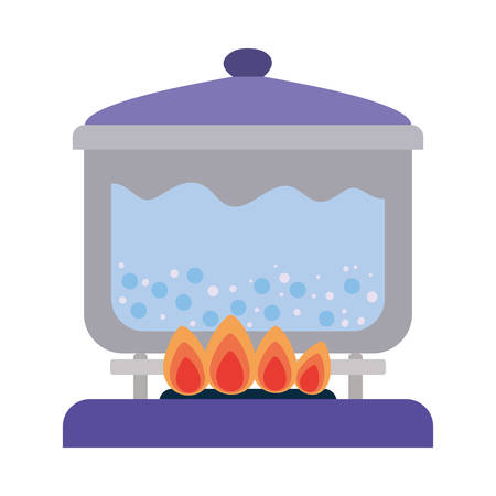 water boiling inside pot design, Cook kitchen eat and food theme Vector illustration