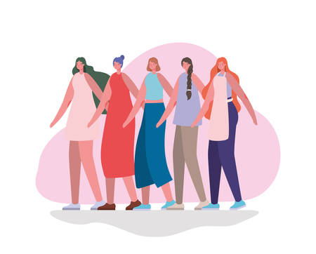 women avatars cartoons design, Woman girl female person and people theme illustration Vettoriali