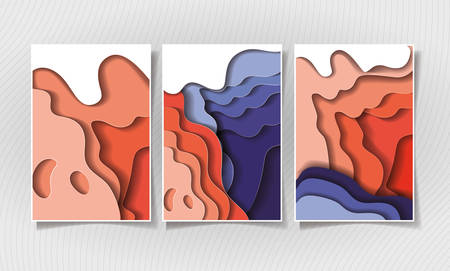 Orange and purple waves backgrounds frames, Abstract texture art and wallpaper theme Vector illustration